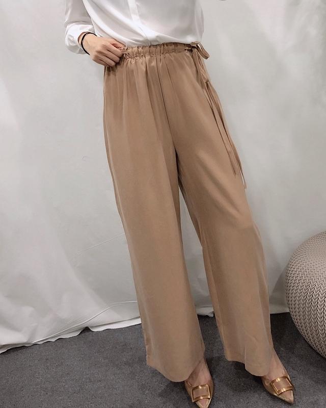 913026 超舒服綁帶棉質寬褲 - 兩色