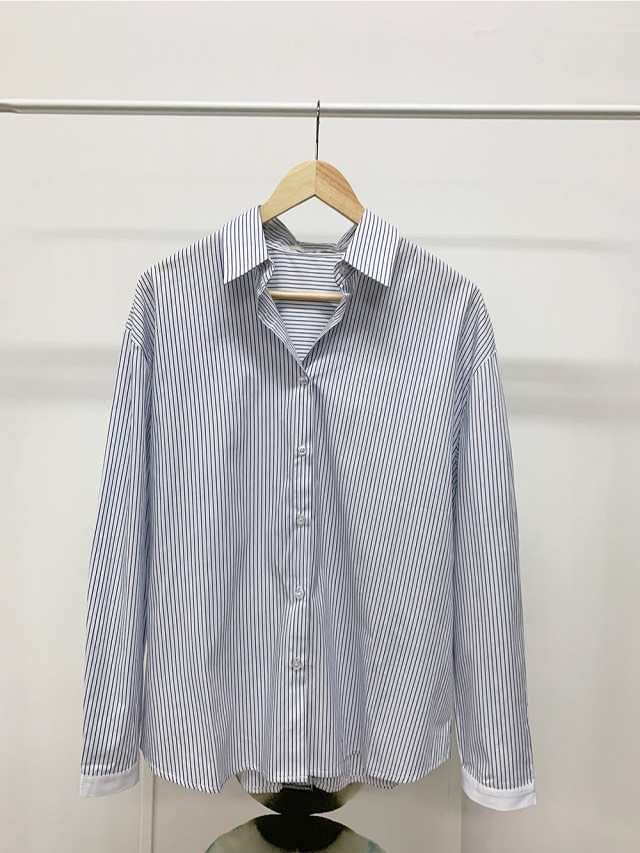 918031 背鈕扣造型條紋襯衫
