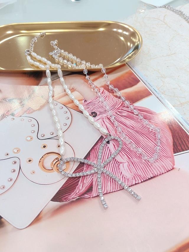 713078 蝴蝶結細鑽珍珠雙鍊