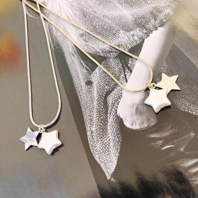 915151 雙星貝殼短鍊 - 銀