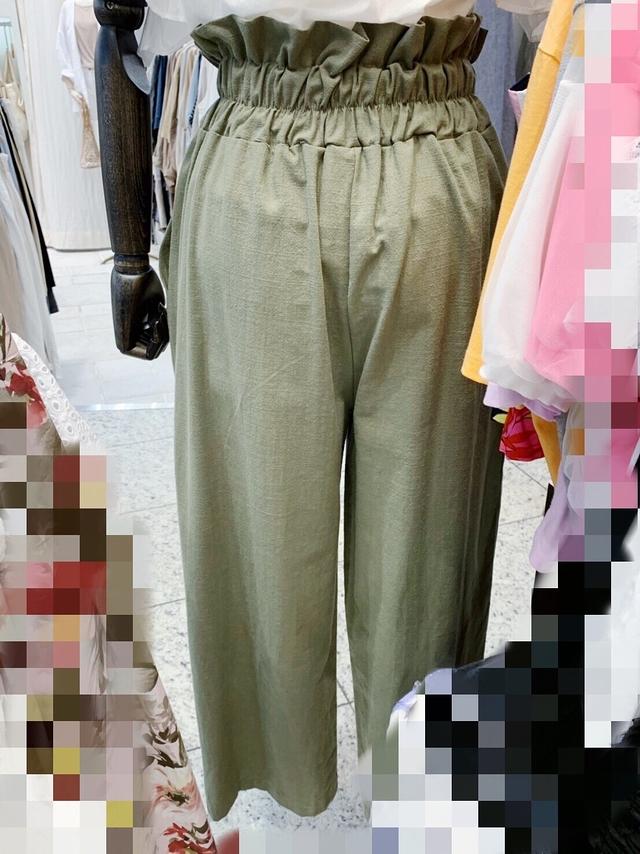 717012 時髦高腰排釦寬褲 - 三色