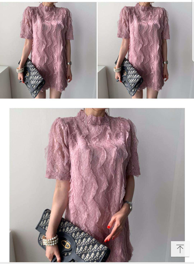 918012 波浪蕾絲洋裝 - 粉