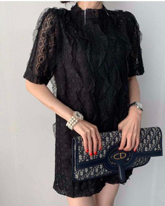 918012 波浪蕾絲洋裝 - 兩色