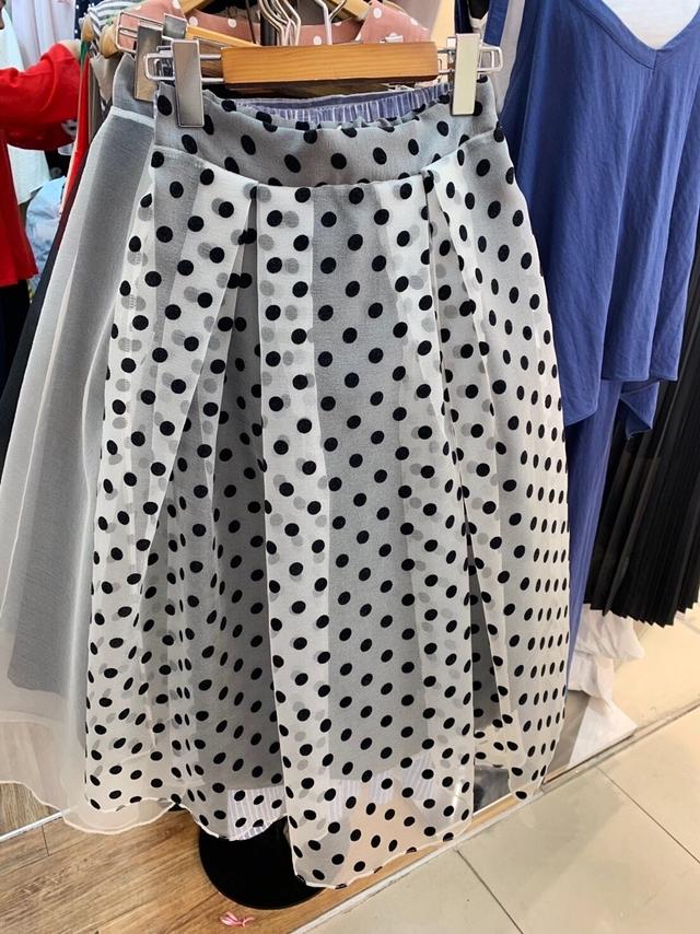 916080 點點雙層紗裙 - 白
