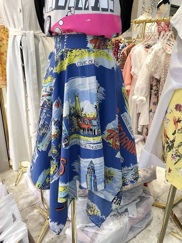 916048 不規則裙襬城堡圓裙 - 藍色