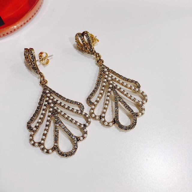 913120 復古名伶珍珠鑽耳環