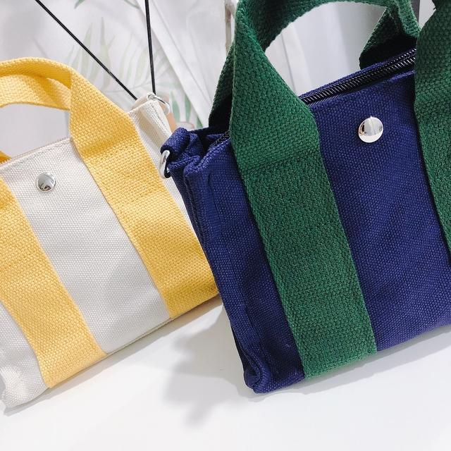 913091 可愛撞色帆布兩用包 - 白色