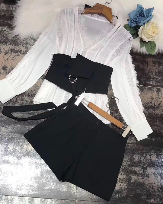 918038 羽毛蕾絲襯衫腰封套裝(三件組)