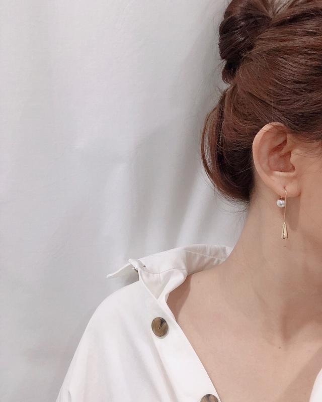 913123 水滴珍珠長耳環