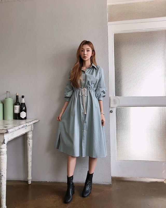 918017 襯衫式綁帶洋裝