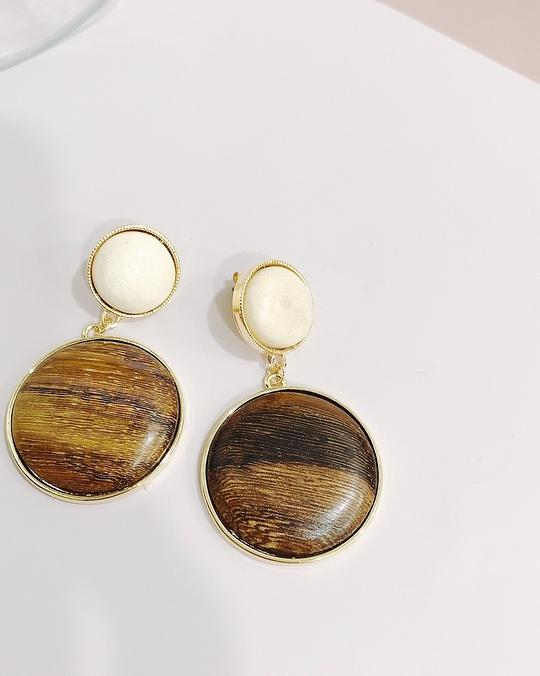 914150 個性雙圓木頭耳環 - 米咖