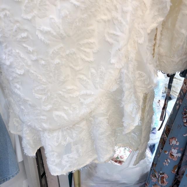 913043 棉花糖花朵蕾絲開襟洋裝