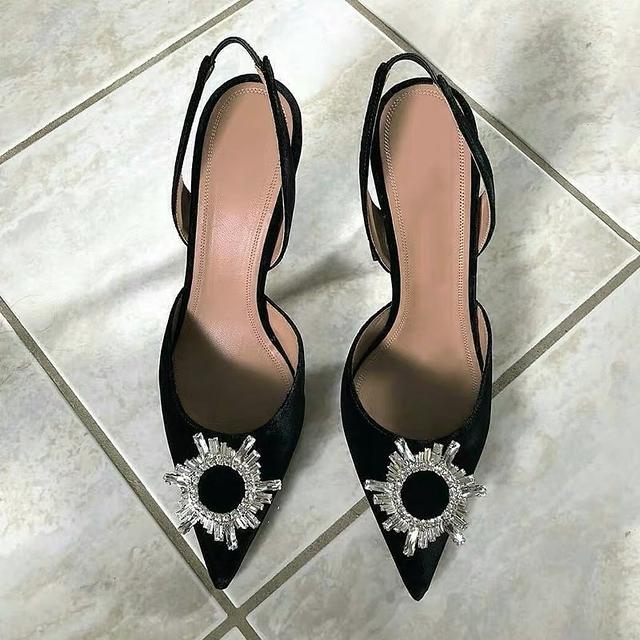 915504 訂製水晶細鑽高跟涼鞋 - 黑 24 -展示鞋