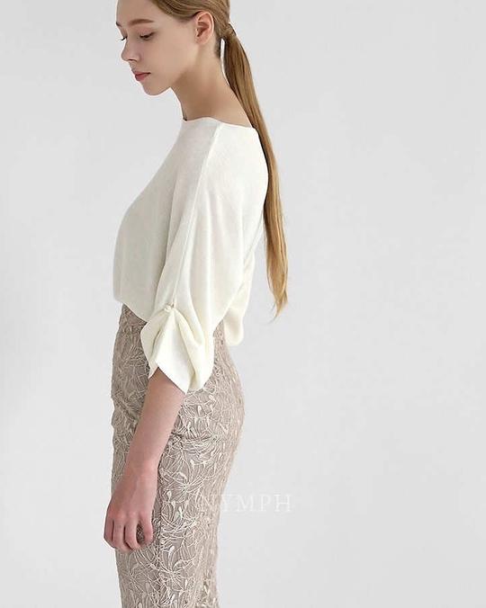 918028 袖珍珠抓皺針織衫 - 三色