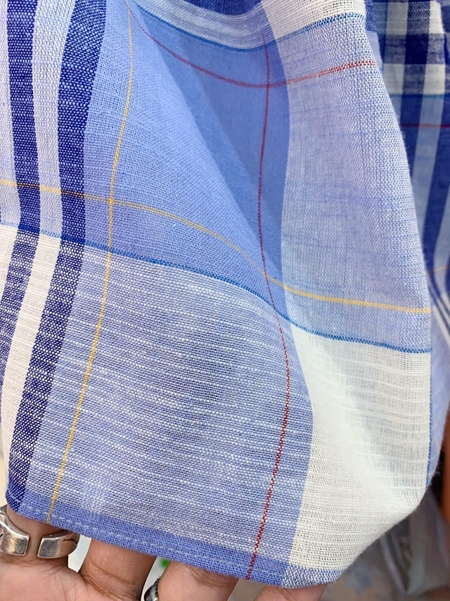 713038 麻料格紋寬肩帶上衣 - 藍
