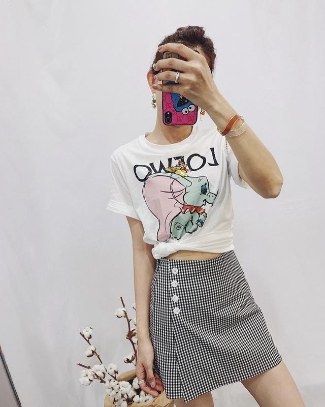 713063 小方格褲裙 - 黑