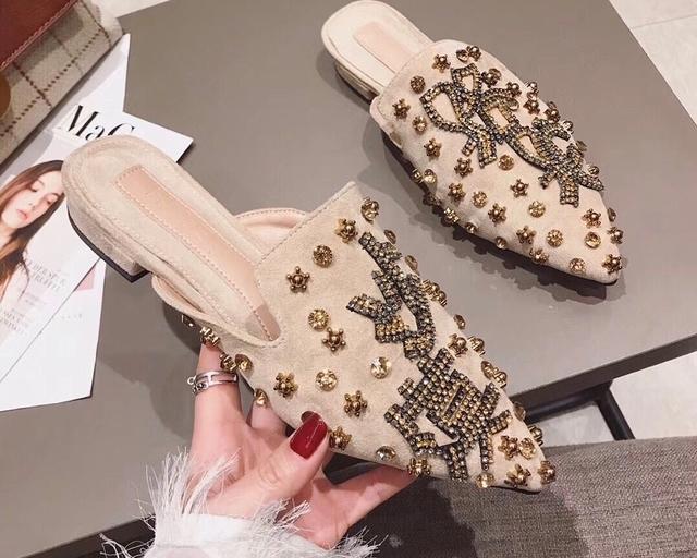 913707 奢華亮鑽摩洛哥拖鞋 - 兩色