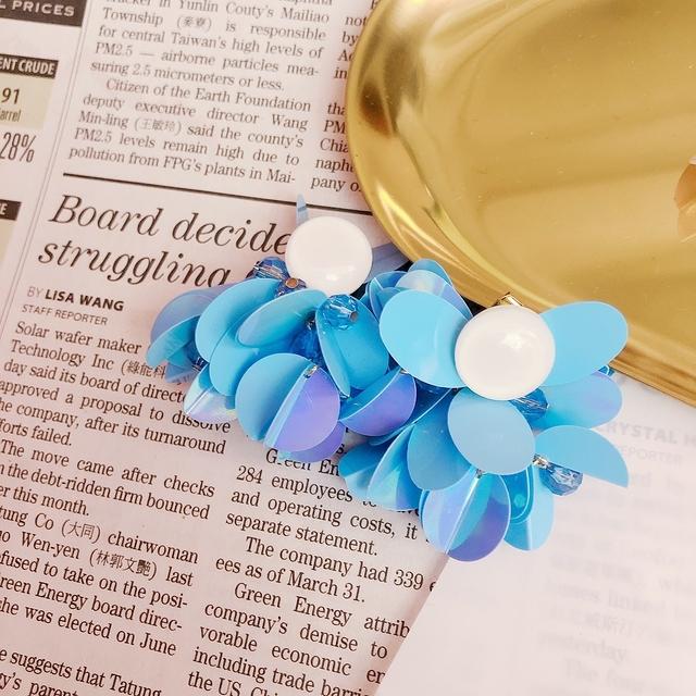 713084 亮片花朵耳環-藍