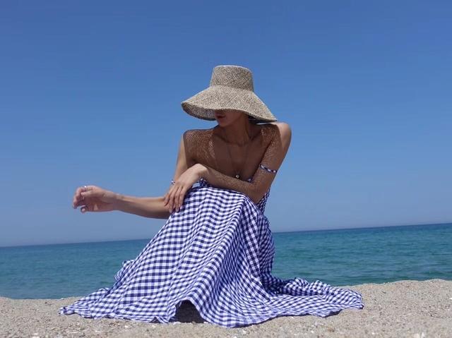 717005 歐美度假格紋套裝 - 藍