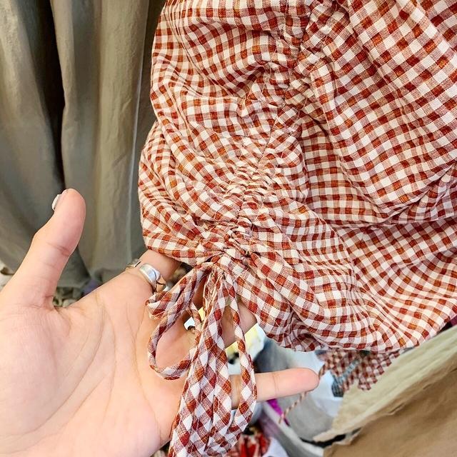 713062 清爽格紋抽繩洋裝 - 兩色(8/20後到貨)