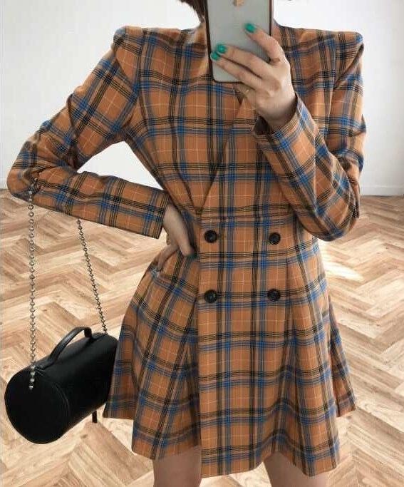 912044 格紋外套式洋裝 - 兩色