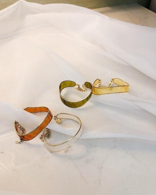 917221 勾勒金邊透明寬版手環 -四色