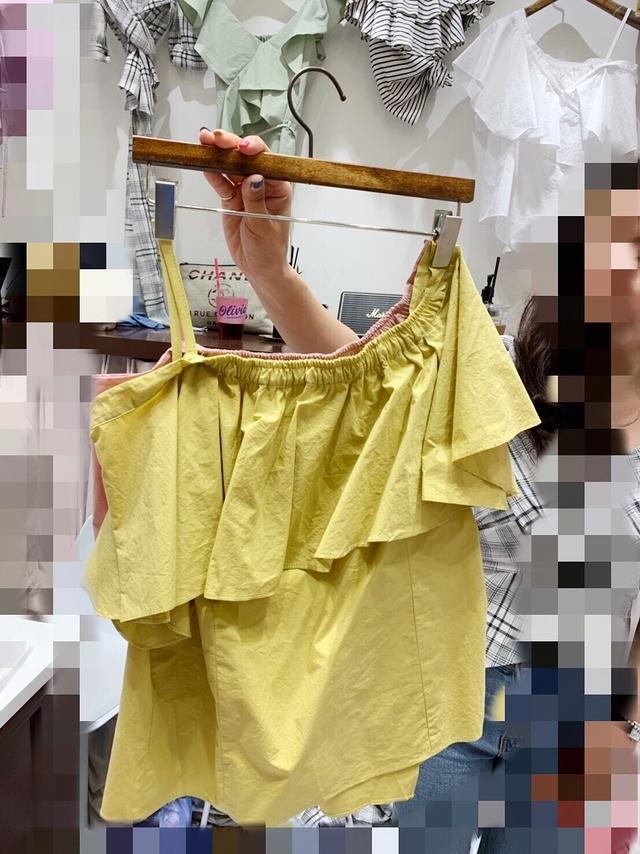 713051 單肩拉領兩穿棉麻上衣 - 粉