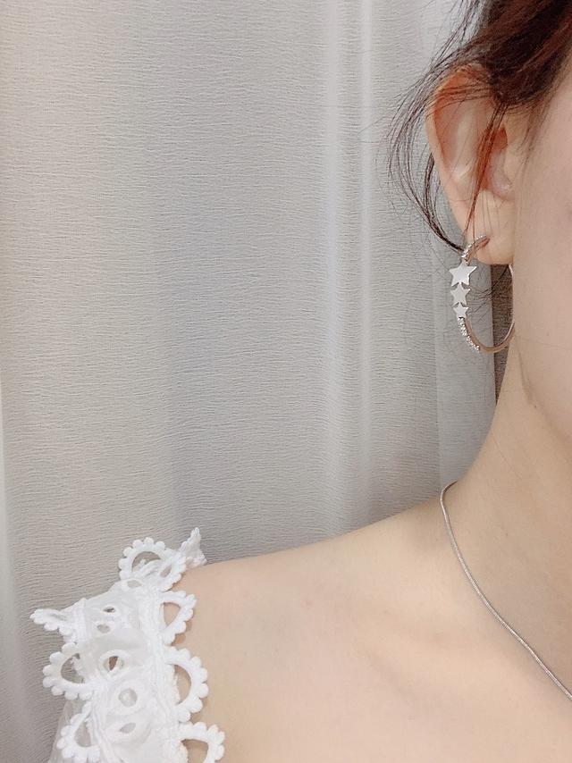 915127 大小星星鑽石耳環 - 金