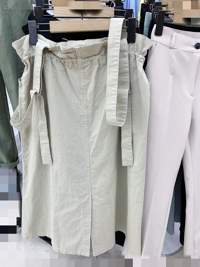 713033 氣質麻料吊帶開岔裙- 兩色