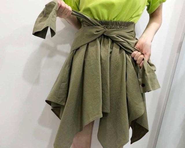 914072 時髦綁帶短裙 - 卡其