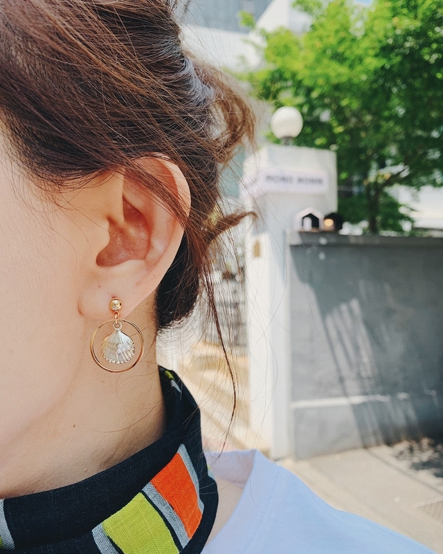 916109 貝殼圓形耳環