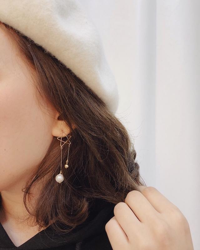 911121 幸運星珍珠耳環