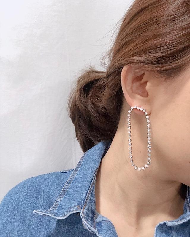 913104 鑲鑽橢圓耳環