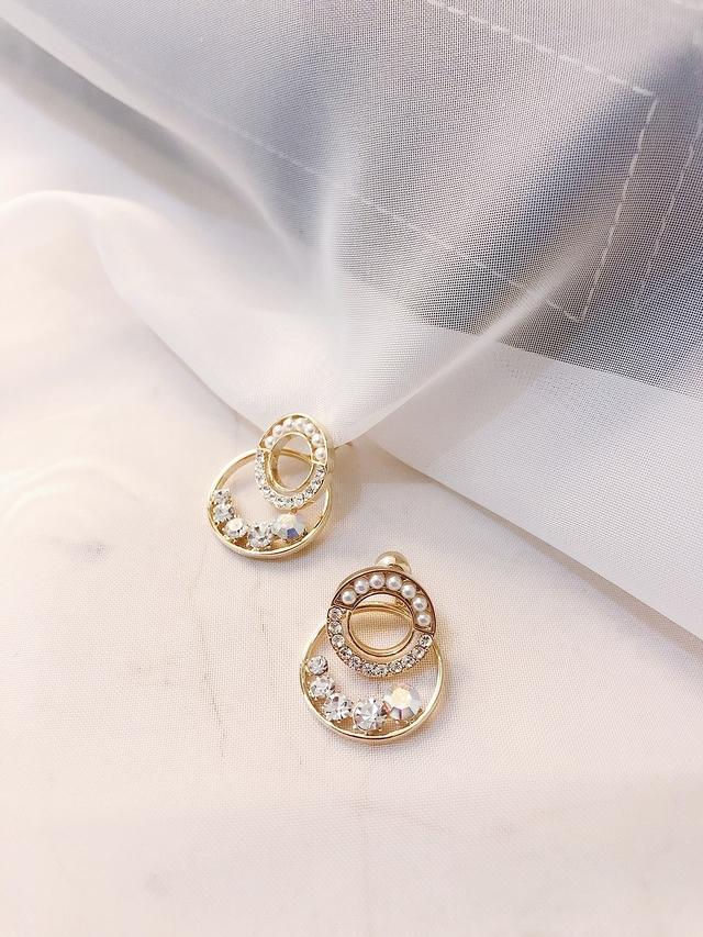 927212 珍珠鑽雙環耳環