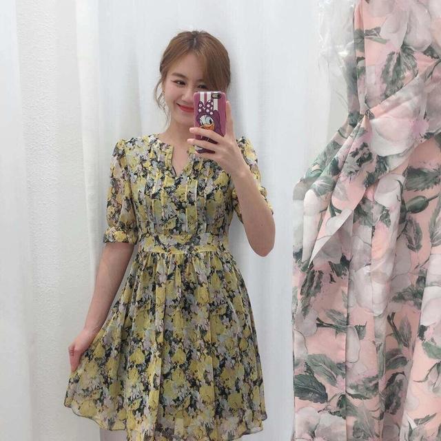 816025 雪紡荷葉邊洋裝 - 黃