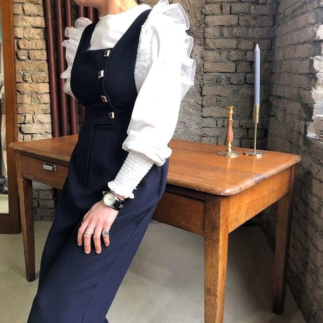 913031 袖拚紗造型連身褲 - 藍