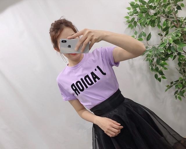 913064 Dior女孩絨面字母棉tee - 白