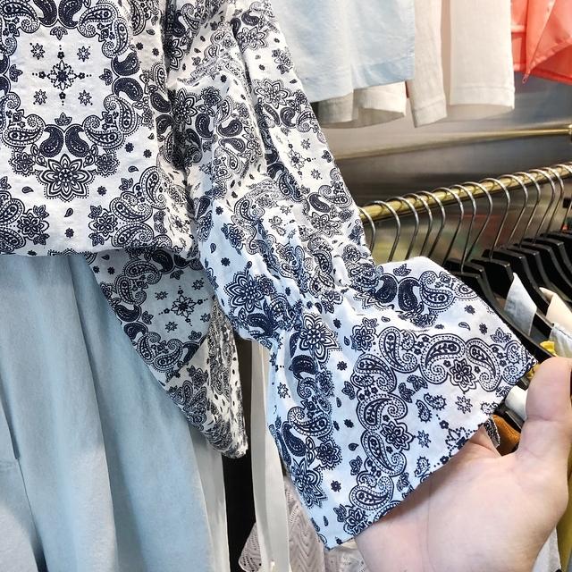 916022 隨性拉領幾何棉麻衫