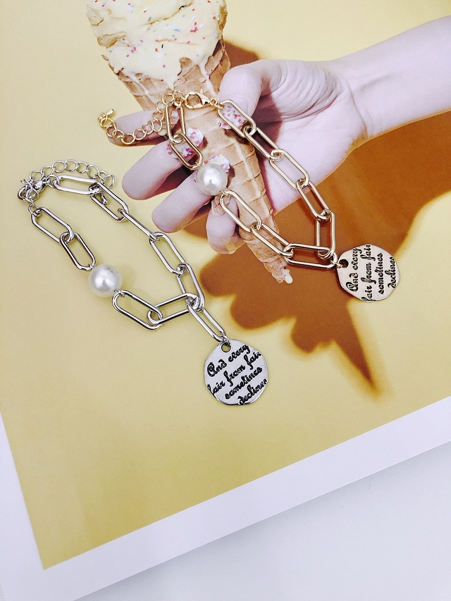 915153 幸運幣珍珠手鍊 - 銀