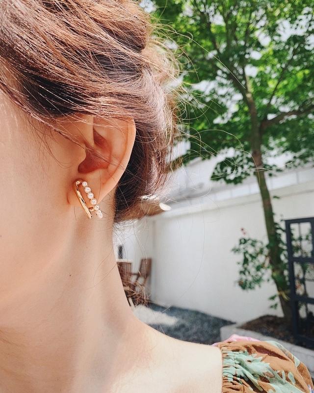 916148 金屬珍珠雙環耳環