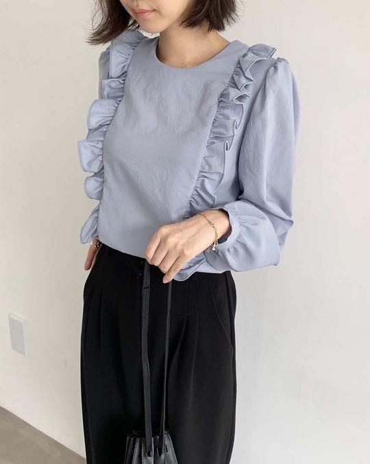 918044 緞面波浪雪紡衫 - 藍