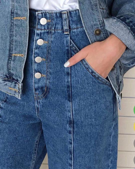918053 排釦顯瘦高腰牛仔寬褲